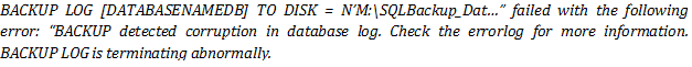 backup detected corruption in the database log