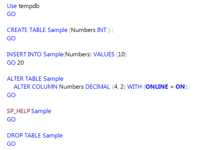 Updated new t sql features in sql server 2016 - Alter table change data type sql server ...