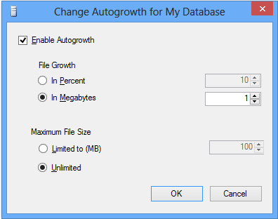 Autogrowth Setting